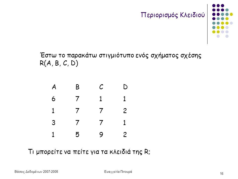 Βάσεις Δεδομένων 2007-2008Ευαγγελία Πιτουρά 16 Περιορισμός Κλειδιού Έστω το παρακάτω στιγμιότυπο ενός σχήματος σχέσης R(A, B, C, D) ΑΒCD 6711 1772 3771 1592 Τι μπορείτε να πείτε για τα κλειδιά της R;