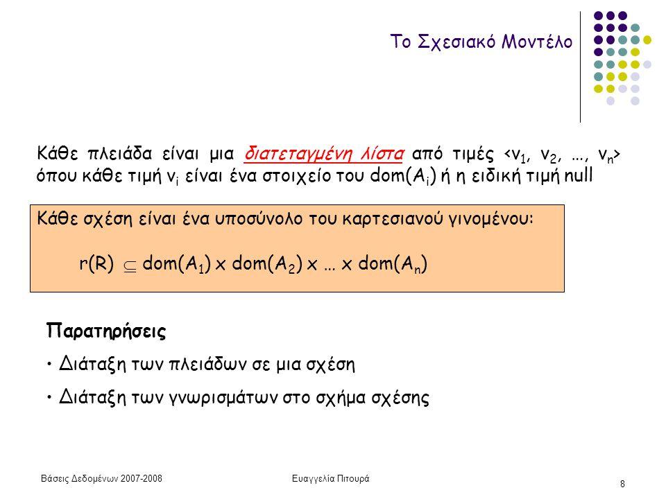 Βάσεις Δεδομένων 2007-2008Ευαγγελία Πιτουρά 8 Το Σχεσιακό Μοντέλο Κάθε πλειάδα είναι μια διατεταγμένη λίστα από τιμές όπου κάθε τιμή v i είναι ένα στοιχείο του dom(A i ) ή η ειδική τιμή null r(R)  dom(A 1 ) x dom(A 2 ) x … x dom(A n ) Κάθε σχέση είναι ένα υποσύνολο του καρτεσιανού γινομένου: Παρατηρήσεις Διάταξη των πλειάδων σε μια σχέση Διάταξη των γνωρισμάτων στο σχήμα σχέσης