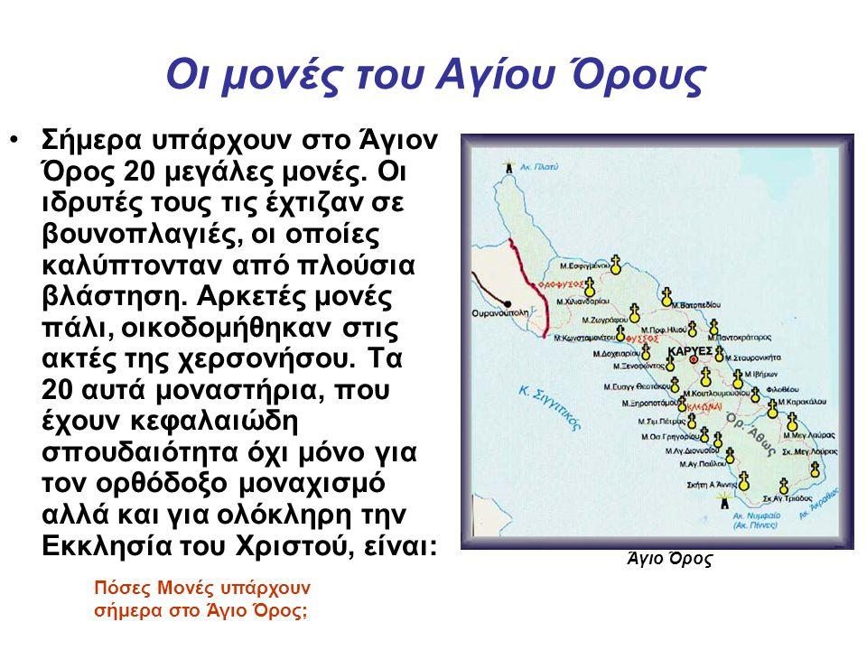 Οι μονές του Αγίου Όρους Σήμερα υπάρχουν στο Άγιον Όρος 20 μεγάλες μονές. Οι ιδρυτές τους τις έχτιζαν σε βουνοπλαγιές, οι οποίες καλύπτονταν από πλούσ
