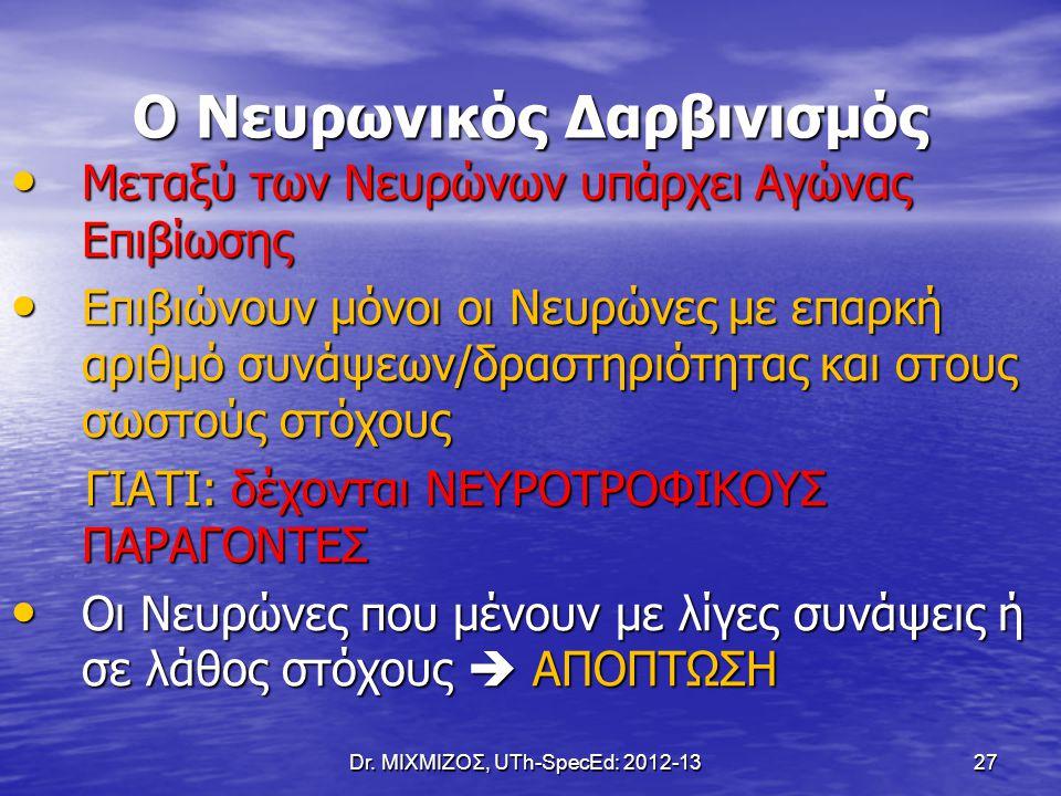 Dr. ΜΙΧΜΙΖΟΣ, UTh-SpecEd: 2012-13 27 Ο Νευρωνικός Δαρβινισμός Μεταξύ των Νευρώνων υπάρχει Αγώνας Επιβίωσης Μεταξύ των Νευρώνων υπάρχει Αγώνας Επιβίωση