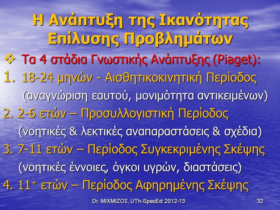 Dr. ΜΙΧΜΙΖΟΣ, UTh-SpecEd: 2012-13 32 Η Ανάπτυξη της Ικανότητας Επίλυσης Προβλημάτων  Τα 4 στάδια Γνωστικής Ανάπτυξης (Piaget): 1. 18-24 μηνών - Αισθη