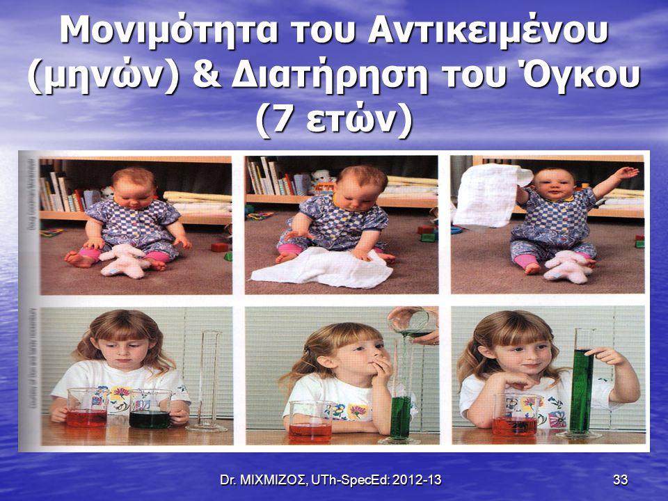 Dr. ΜΙΧΜΙΖΟΣ, UTh-SpecEd: 2012-13 33 Μονιμότητα του Αντικειμένου (μηνών) & Διατήρηση του Όγκου (7 ετών)