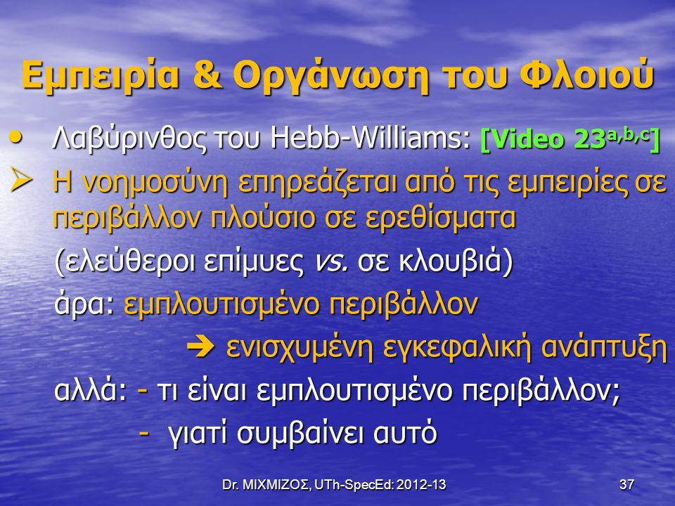 Dr. ΜΙΧΜΙΖΟΣ, UTh-SpecEd: 2012-13 37 Εμπειρία & Οργάνωση του Φλοιού Λαβύρινθος του Hebb-Williams: [Video 23 a,b,c ] Λαβύρινθος του Hebb-Williams: [Vid