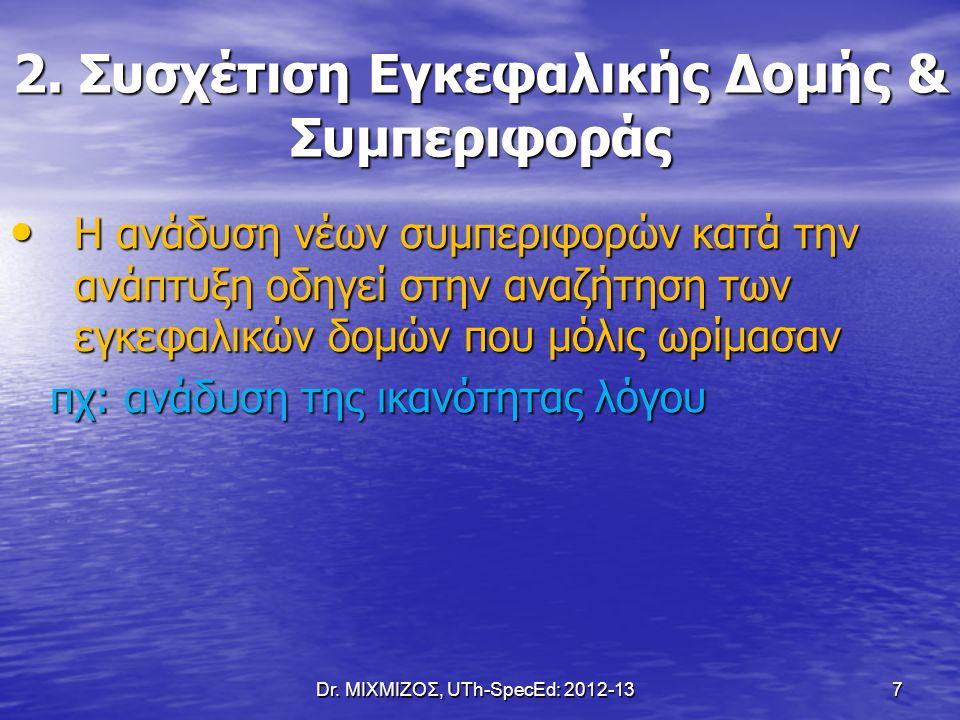 Dr. ΜΙΧΜΙΖΟΣ, UTh-SpecEd: 2012-13 7 2. Συσχέτιση Εγκεφαλικής Δομής & Συμπεριφοράς Η ανάδυση νέων συμπεριφορών κατά την ανάπτυξη οδηγεί στην αναζήτηση