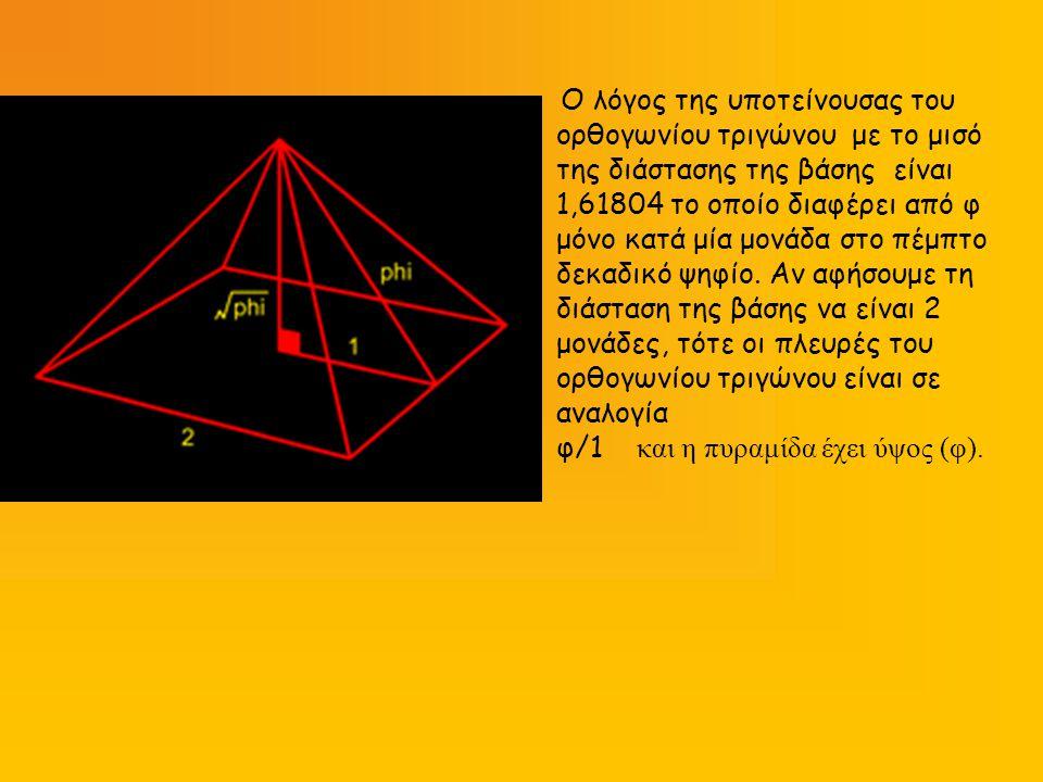 Ο λόγος της υποτείνουσας του ορθογωνίου τριγώνου με το μισό της διάστασης της βάσης είναι 1,61804 το οποίο διαφέρει από φ μόνο κατά μία μονάδα στο πέμ