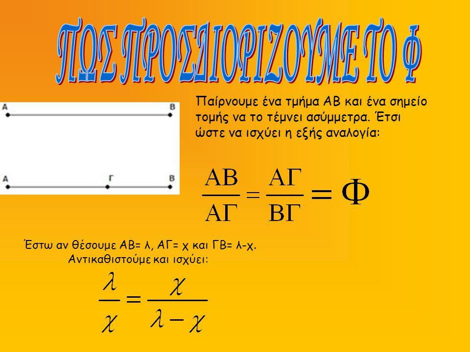 Έστω αν θέσουμε ΑΒ= λ, ΑΓ= χ και ΓΒ= λ-χ. Αντικαθιστούμε και ισχύει: Παίρνουμε ένα τμήμα ΑΒ και ένα σημείο τομής να το τέμνει ασύμμετρα. Έτσι ώστε να
