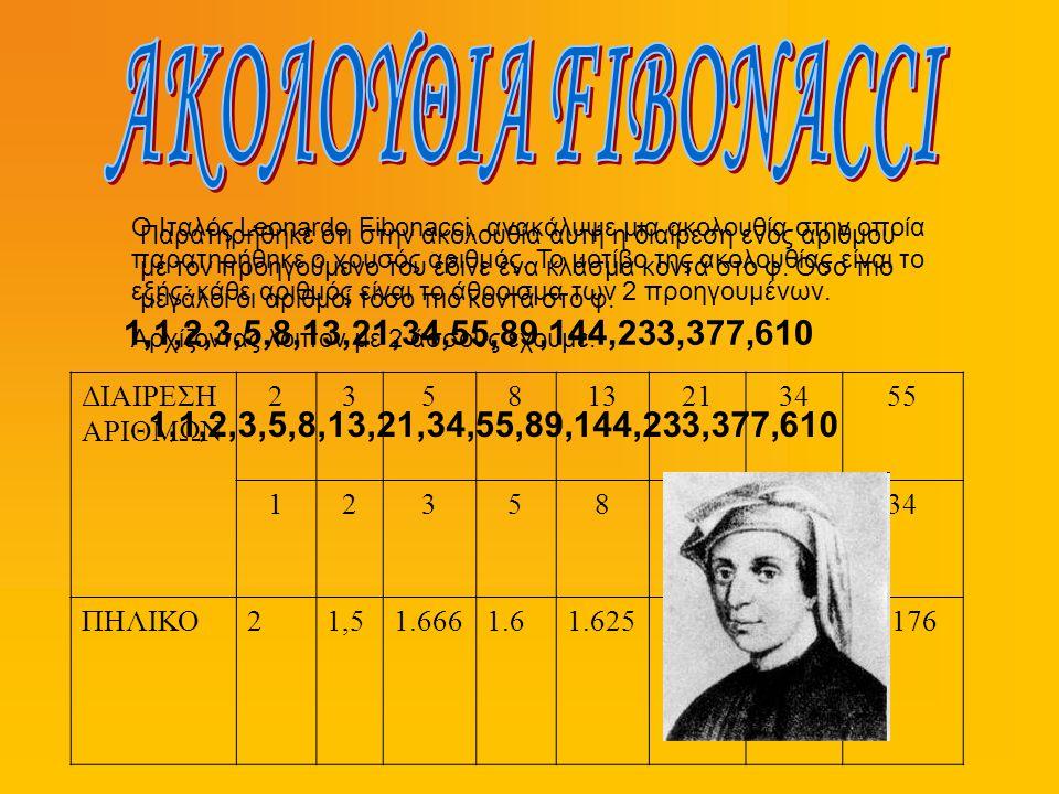 Ο Ιταλός Leonardo Fibonacci, ανακάλυψε μια ακολουθία στην οποία παρατηρήθηκε ο χρυσός αριθμός. Το μοτίβο της ακολουθίας είναι το εξής: κάθε αριθμός εί