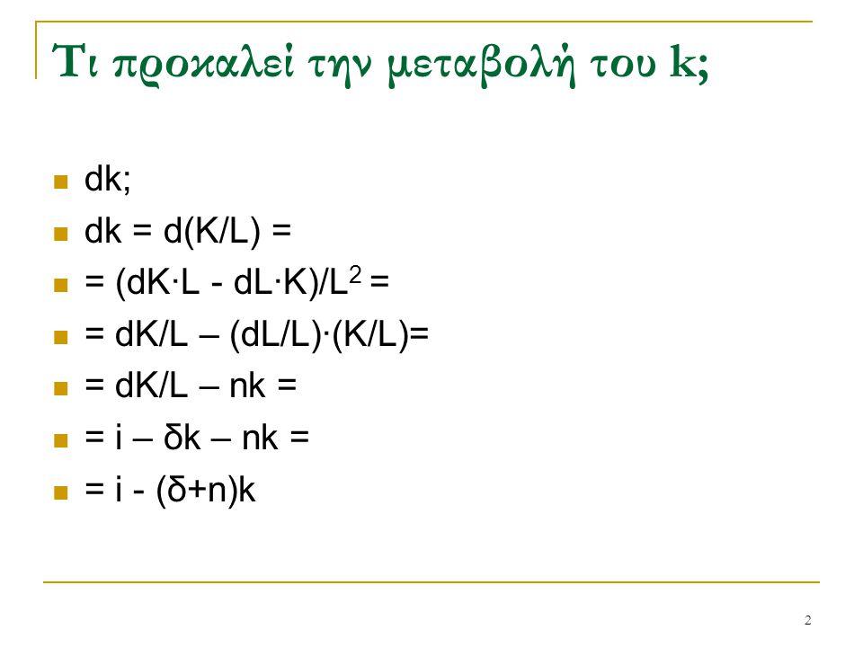 2 Τι προκαλεί την μεταβολή του k; dk; dk = d(K/L) = = (dK·L - dL·K)/L 2 = = dK/L – (dL/L)·(K/L)= = dK/L – nk = = i – δk – nk = = i - (δ+n)k