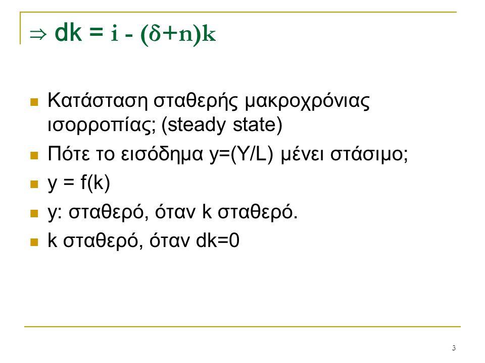 3 ⇒ dk = i - (δ+n)k Κατάσταση σταθερής μακροχρόνιας ισορροπίας; (steady state) Πότε το εισόδημα y=(Y/L) μένει στάσιμο; y = f(k) y: σταθερό, όταν k στα