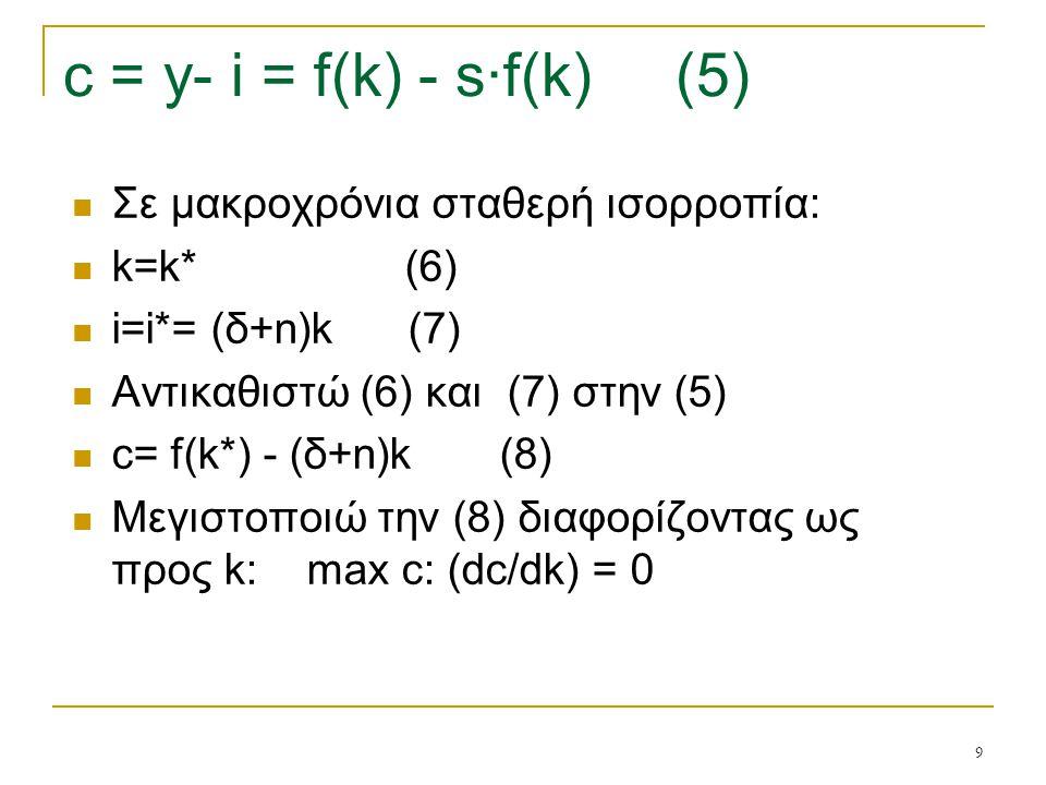 9 c = y- i = f(k) - s·f(k) (5) Σε μακροχρόνια σταθερή ισορροπία: k=k* (6) i=i*= (δ+n)k (7) Αντικαθιστώ (6) και (7) στην (5) c= f(k*) - (δ+n)k (8) Μεγι