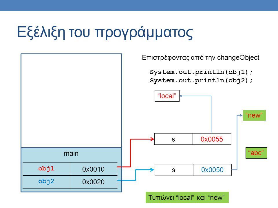 "main Εξέλιξη του προγράμματος obj1 0x0010 obj2 0x0020 s0x0050 s0x0055 System.out.println(obj1); System.out.println(obj2); ""abc"" ""local"" ""new"" Επιστρέφ"
