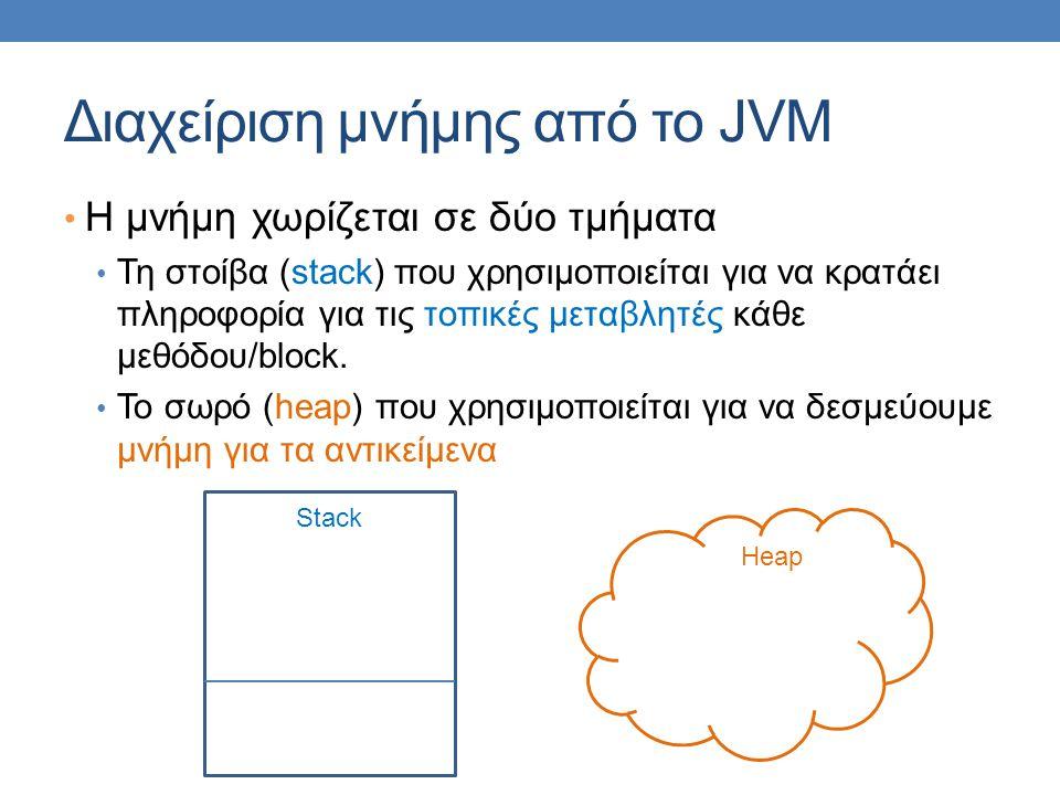 Διαχείριση μνήμης από το JVM Η μνήμη χωρίζεται σε δύο τμήματα Τη στοίβα (stack) που χρησιμοποιείται για να κρατάει πληροφορία για τις τοπικές μεταβλητ