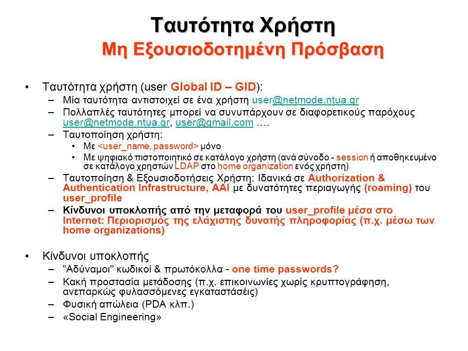 Ταυτότητα Χρήστη Μη Εξουσιοδοτημένη Πρόσβαση Ταυτότητα χρήστη (user Global ID – GID): –Μία ταυτότητα αντιστοιχεί σε ένα χρήστη user@netmode.ntua.gr@netmode.ntua.gr –Πολλαπλές ταυτότητες μπορεί να συνυπάρχουν σε διαφορετικούς παρόχους user@netmode.ntua.gr, user@gmail.com ….