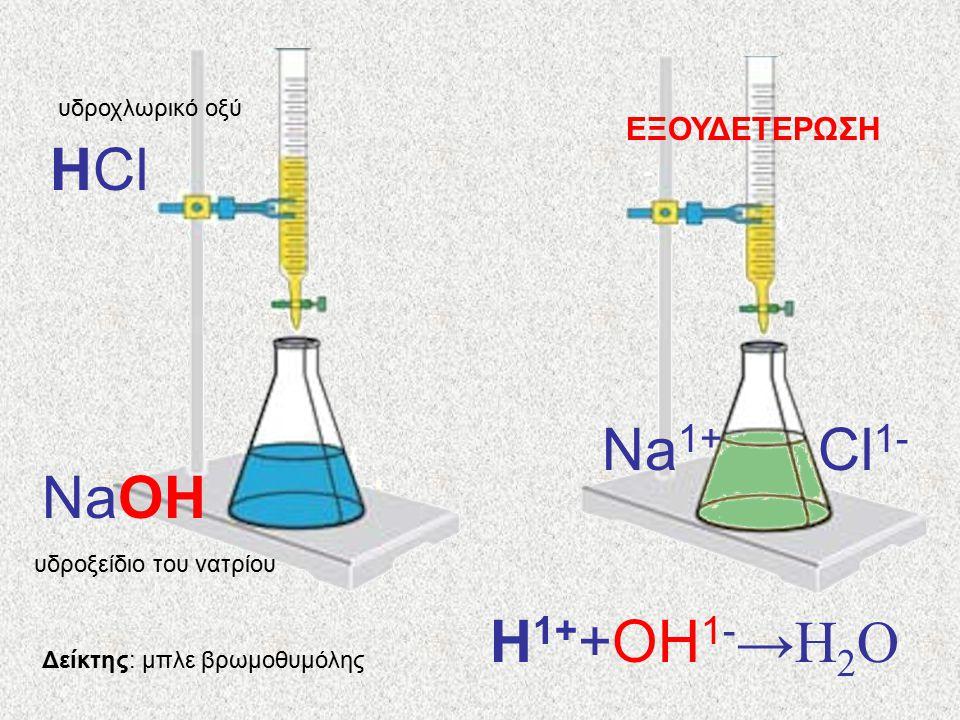 Δείκτης: μπλε βρωμοθυμόλης υδροχλωρικό οξύ HCl υδροξείδιο του νατρίου NaOH H 1+ +OH 1- →H 2 O Cl 1- Na 1+ ΕΞΟΥΔΕΤΕΡΩΣΗ