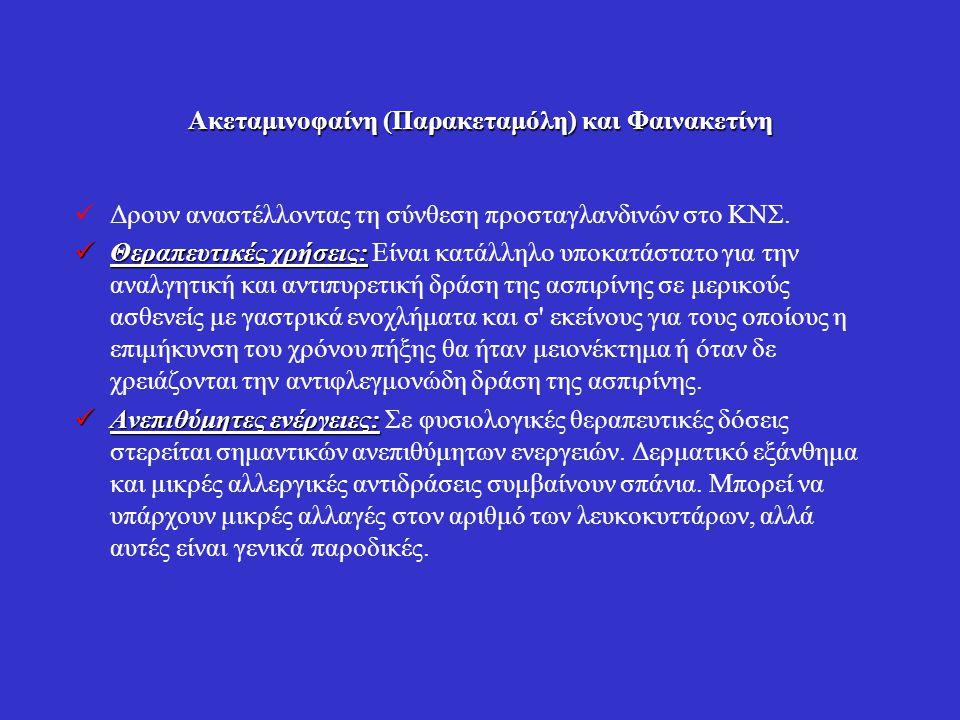 Ακεταμινοφαίνη (Παρακεταμόλη) και Φαινακετίνη Δρουν αναστέλλοντας τη σύνθεση προσταγλανδινών στο ΚΝΣ. Θεραπευτικές χρήσεις: Θεραπευτικές χρήσεις: Είνα