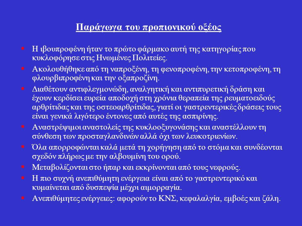 Ινδολοξικά οξέα ΙνδομεθακίνηΙνδομεθακίνη: Είναι πιο ισχυρό από την ασπιρίνη ως αντιφλεγμονώδες αλλά είναι κατώτερο από τα σαλικυλικά σε δόσεις ανεκτές από τους ασθενείς με ρευματοειδή αρθρίτιδα.