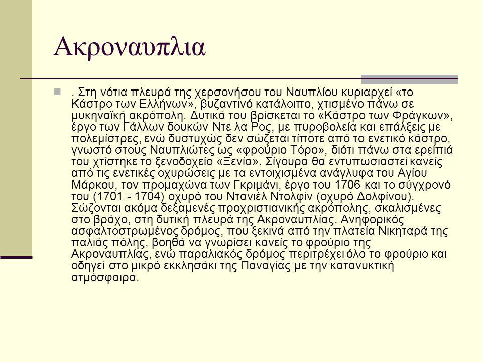 Ακροναυπλια. Στη νότια πλευρά της χερσονήσου του Ναυπλίου κυριαρχεί «το Κάστρο των Ελλήνων», βυζαντινό κατάλοιπο, χτισμένο πάνω σε μυκηναϊκή ακρόπολη.
