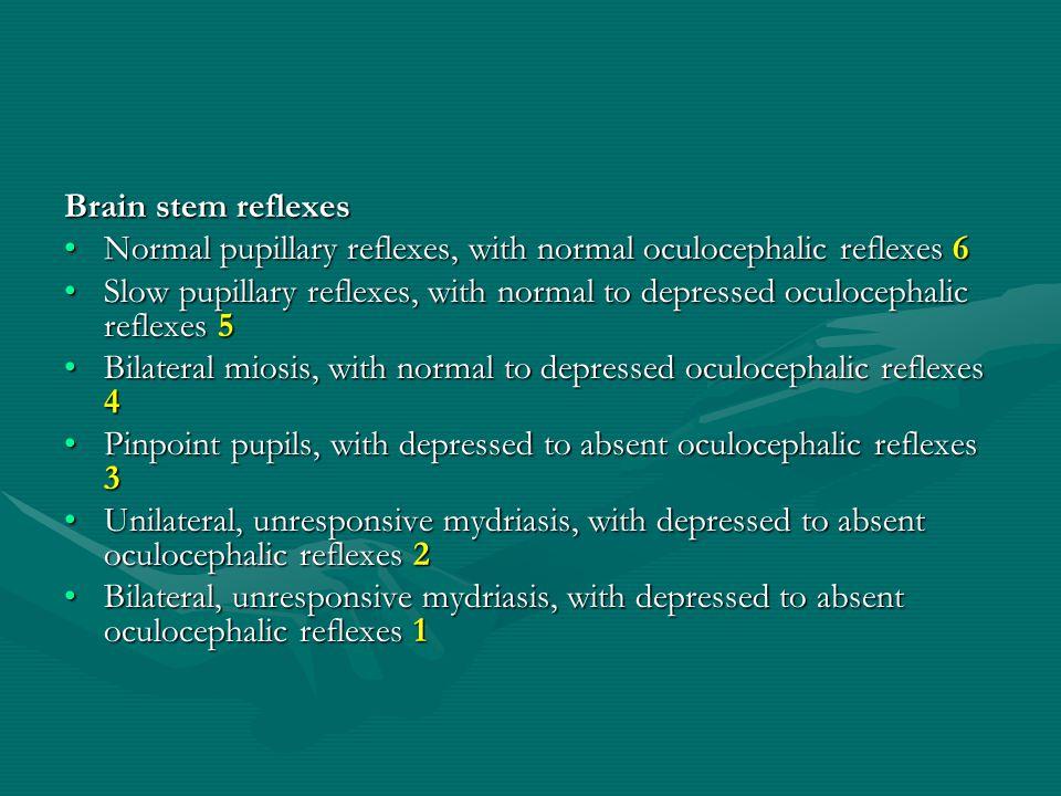 Brain stem reflexes Brain stem reflexes Normal pupillary reflexes, with normal oculocephalic reflexes 6Normal pupillary reflexes, with normal oculocephalic reflexes 6 Slow pupillary reflexes, with normal to depressed oculocephalic reflexes 5Slow pupillary reflexes, with normal to depressed oculocephalic reflexes 5 Bilateral miosis, with normal to depressed oculocephalic reflexes 4Bilateral miosis, with normal to depressed oculocephalic reflexes 4 Pinpoint pupils, with depressed to absent oculocephalic reflexes 3Pinpoint pupils, with depressed to absent oculocephalic reflexes 3 Unilateral, unresponsive mydriasis, with depressed to absent oculocephalic reflexes 2Unilateral, unresponsive mydriasis, with depressed to absent oculocephalic reflexes 2 Bilateral, unresponsive mydriasis, with depressed to absent oculocephalic reflexes 1Bilateral, unresponsive mydriasis, with depressed to absent oculocephalic reflexes 1