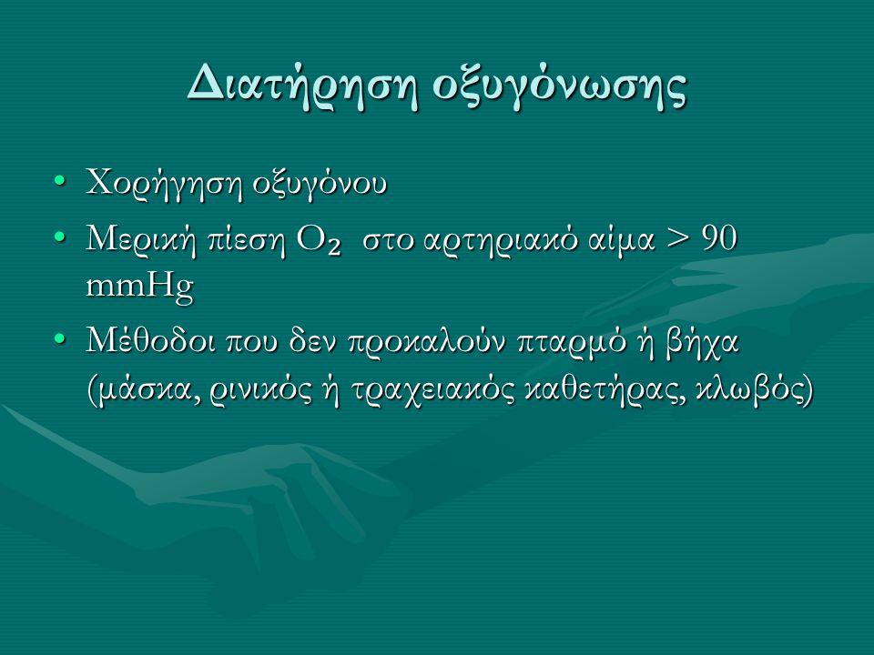 Διατήρηση οξυγόνωσης Χορήγηση οξυγόνουΧορήγηση οξυγόνου Μερική πίεση O ₂ στο αρτηριακό αίμα > 90 mmHgΜερική πίεση O ₂ στο αρτηριακό αίμα > 90 mmHg Μέθοδοι που δεν προκαλούν πταρμό ή βήχα (μάσκα, ρινικός ή τραχειακός καθετήρας, κλωβός)Μέθοδοι που δεν προκαλούν πταρμό ή βήχα (μάσκα, ρινικός ή τραχειακός καθετήρας, κλωβός)