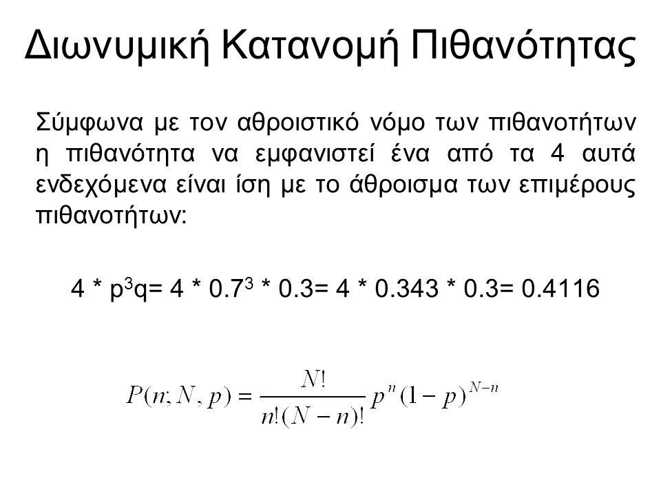 Διωνυμική Κατανομή Πιθανότητας Σύμφωνα με τον αθροιστικό νόμο των πιθανοτήτων η πιθανότητα να εμφανιστεί ένα από τα 4 αυτά ενδεχόμενα είναι ίση με το