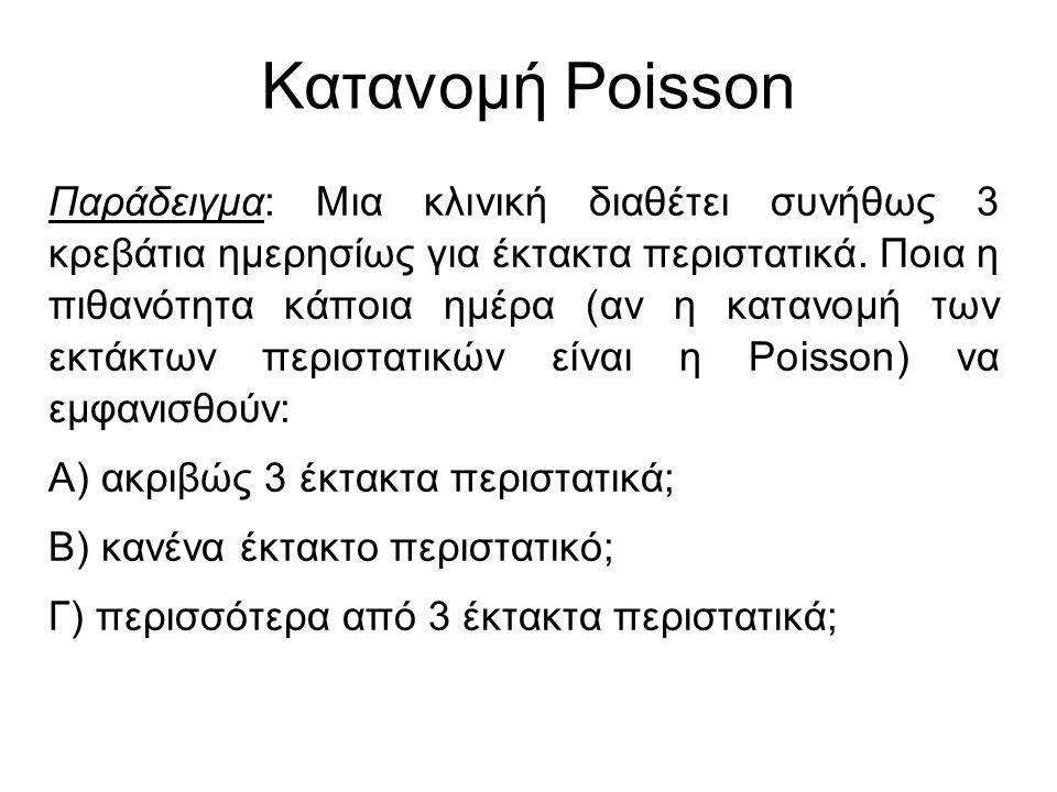 Κατανομή Poisson Παράδειγμα: Μια κλινική διαθέτει συνήθως 3 κρεβάτια ημερησίως για έκτακτα περιστατικά. Ποια η πιθανότητα κάποια ημέρα (αν η κατανομή