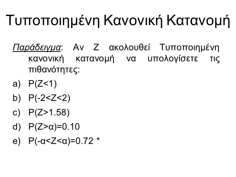 Παράδειγμα: Αν Ζ ακολουθεί Τυποποιημένη κανονική κατανομή να υπολογίσετε τις πιθανότητες: a)P(Z<1) b)P(-2<Z<2) c)P(Z>1.58) d)P(Z>α)=0.10 e)P(-α<Z<α)=0