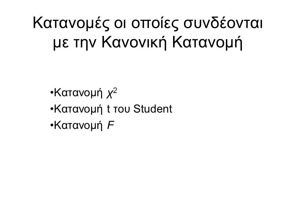 Κατανομές οι οποίες συνδέονται με την Κανονική Κατανομή Κατανομή χ 2 Κατανομή t του Student Κατανομή F