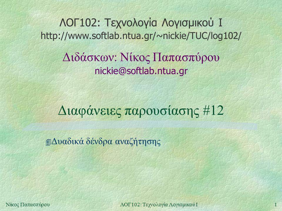 ΛΟΓ102: Τεχνολογία Λογισμικού Ι nickie@softlab.ntua.gr Διδάσκων: Νίκος Παπασπύρου http://www.softlab.ntua.gr/~nickie/TUC/log102/ 1Νίκος ΠαπασπύρουΛΟΓ102: Τεχνολογία Λογισμικού Ι Διαφάνειες παρουσίασης #12 4 Δυαδικά δένδρα αναζήτησης