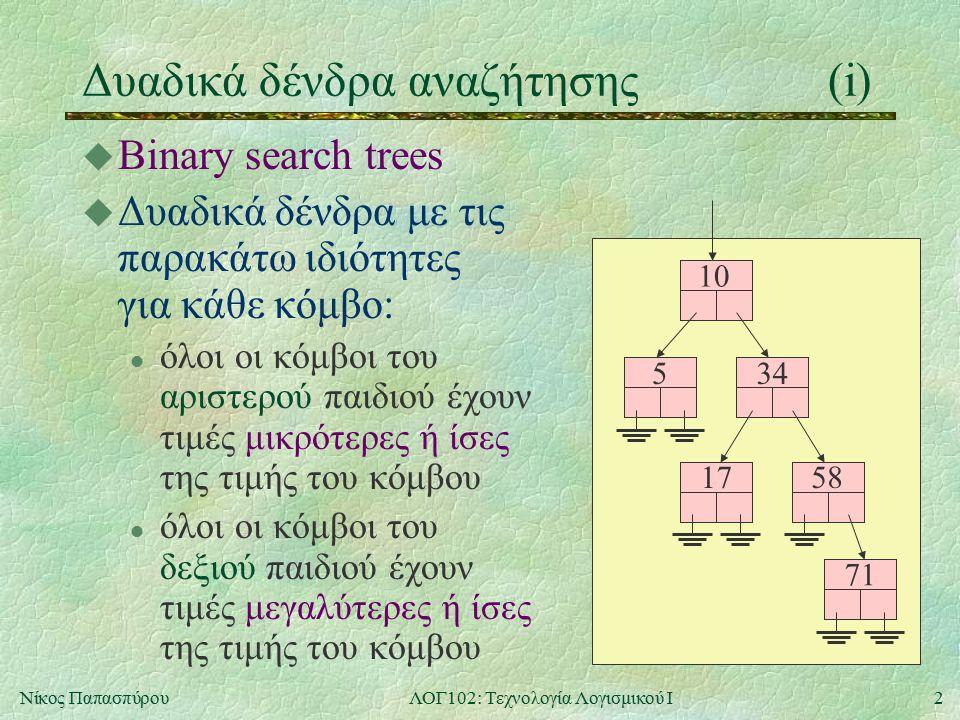 2Νίκος ΠαπασπύρουΛΟΓ102: Τεχνολογία Λογισμικού Ι Δυαδικά δένδρα αναζήτησης(i) u Binary search trees u Δυαδικά δένδρα με τις παρακάτω ιδιότητες για κάθε κόμβο: l όλοι οι κόμβοι του αριστερού παιδιού έχουν τιμές μικρότερες ή ίσες της τιμής του κόμβου l όλοι οι κόμβοι του δεξιού παιδιού έχουν τιμές μεγαλύτερες ή ίσες της τιμής του κόμβου 10 534 58 71 17