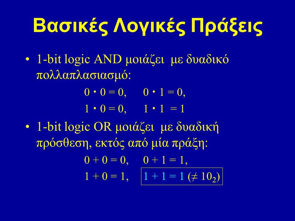 Βασικές Λογικές Πράξεις 1-bit logic AND μοιάζει με δυαδικό πολλαπλασιασμό: 0 0 = 0,0 1 = 0, 1 0 = 0,1 1 = 1 1-bit logic OR μοιάζει με δυαδική πρόσθεση, εκτός από μία πράξη: 0 + 0 = 0,0 + 1 = 1, 1 + 0 = 1,1 + 1 = 1 (≠ 10 2 )