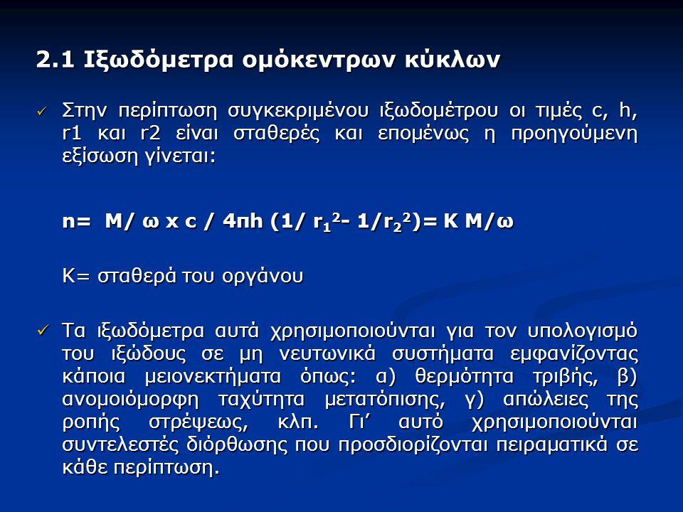 2.1 Ιξωδόμετρα ομόκεντρων κύκλων 2.1 Ιξωδόμετρα ομόκεντρων κύκλων Στην περίπτωση συγκεκριμένου ιξωδομέτρου οι τιμές c, h, r1 και r2 είναι σταθερές και επομένως η προηγούμενη εξίσωση γίνεται: Στην περίπτωση συγκεκριμένου ιξωδομέτρου οι τιμές c, h, r1 και r2 είναι σταθερές και επομένως η προηγούμενη εξίσωση γίνεται: n= M/ ω x c / 4πh (1/ r 1 2 - 1/r 2 2 )= K M/ω Κ= σταθερά του οργάνου Τα ιξωδόμετρα αυτά χρησιμοποιούνται για τον υπολογισμό του ιξώδους σε μη νευτωνικά συστήματα εμφανίζοντας κάποια μειονεκτήματα όπως: α) θερμότητα τριβής, β) ανομοιόμορφη ταχύτητα μετατόπισης, γ) απώλειες της ροπής στρέψεως, κλπ.