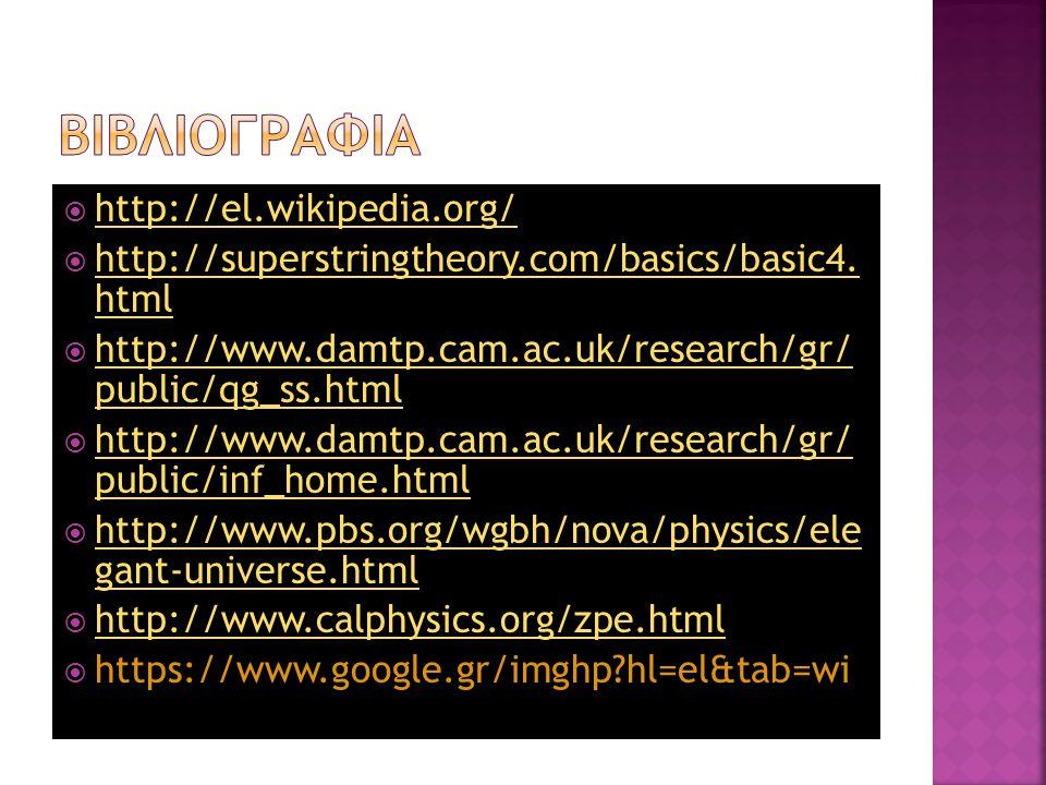  http://el.wikipedia.org/ http://el.wikipedia.org/  http://superstringtheory.com/basics/basic4. html http://superstringtheory.com/basics/basic4. htm