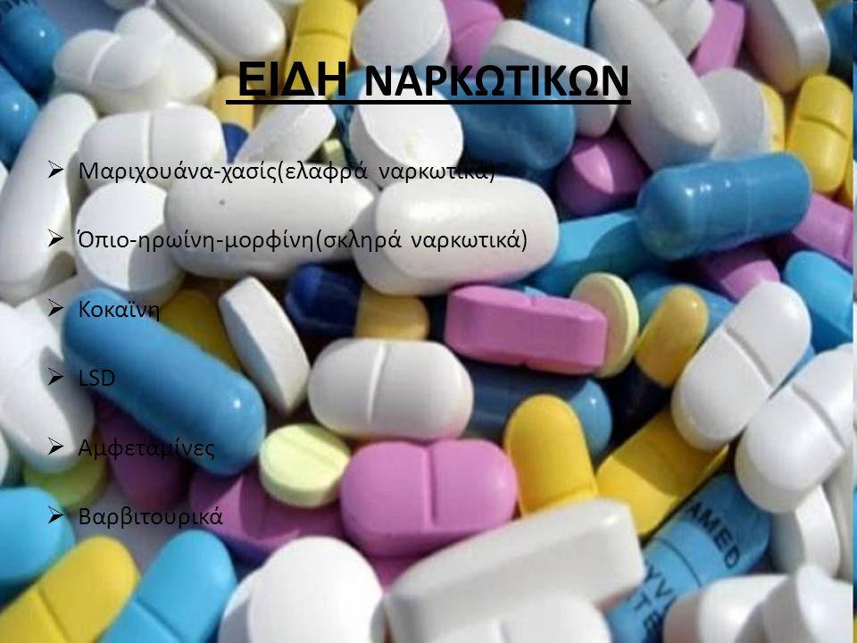 ΕΙΔΗ ΝΑΡΚΩΤΙΚΩΝ  Μαριχουάνα-χασίς(ελαφρά ναρκωτικά)  Όπιο-ηρωίνη-μορφίνη(σκληρά ναρκωτικά)  Κοκαϊνη  LSD  Αμφεταμίνες  Βαρβιτουρικά