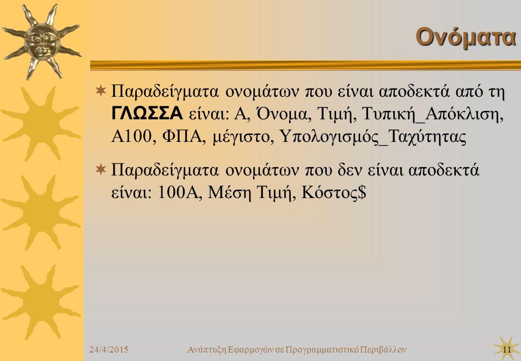 24/4/2015Ανάπτυξη Εφαρμογών σε Προγραμματιστικό Περιβάλλον11 Ονόματα  Παραδείγματα ονομάτων που είναι αποδεκτά από τη ΓΛΩΣΣΑ είναι: Α, Όνομα, Τιμή, Τυπική_Απόκλιση, Α100, ΦΠΑ, μέγιστο, Υπολογισμός_Ταχύτητας  Παραδείγματα ονομάτων που δεν είναι αποδεκτά είναι: 100Α, Μέση Τιμή, Κόστος$
