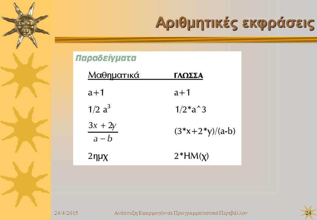 24/4/2015Ανάπτυξη Εφαρμογών σε Προγραμματιστικό Περιβάλλον24 Αριθμητικές εκφράσεις