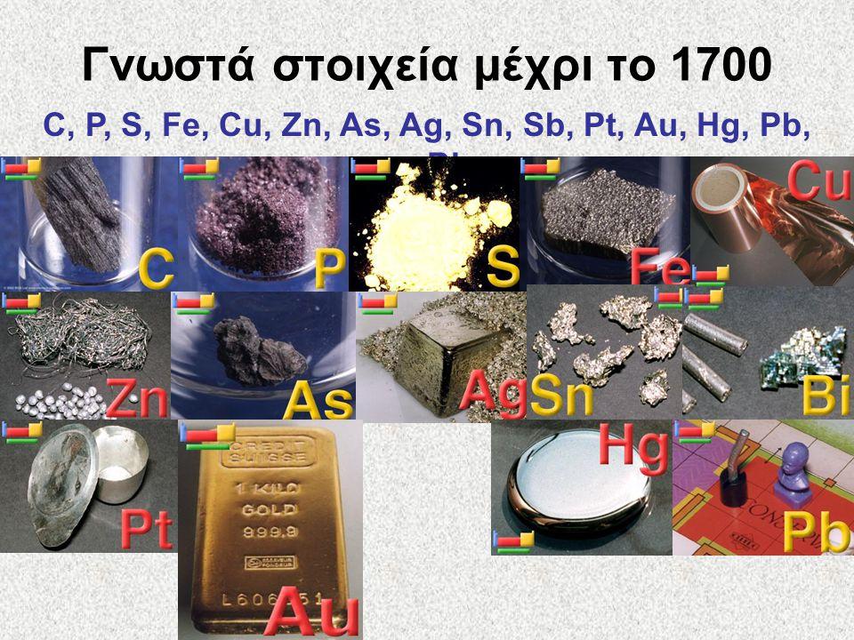 Γνωστά στοιχεία μέχρι το 1700 C, P, S, Fe, Cu, Zn, As, Ag, Sn, Sb, Pt, Au, Hg, Pb, Bi