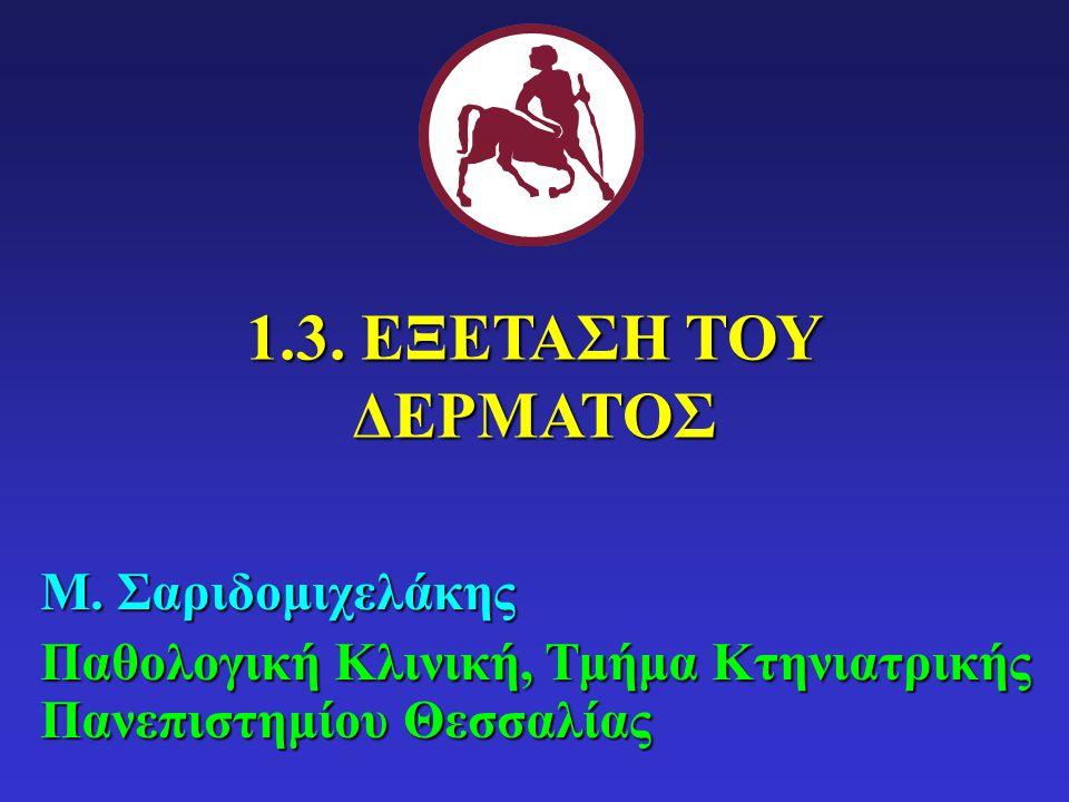 1.3.ΕΞΕΤΑΣΗ ΤΟΥ ΔΕΡΜΑΤΟΣ Μ.