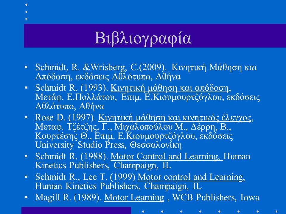 Βιβλιογραφία Schmidt, R. &Wrisberg, C.(2009). Κινητική Μάθηση και Απόδοση, εκδόσεις Αθλότυπο, Αθήνα Schmidt R. (1993). Κινητική μάθηση και απόδοση, Με