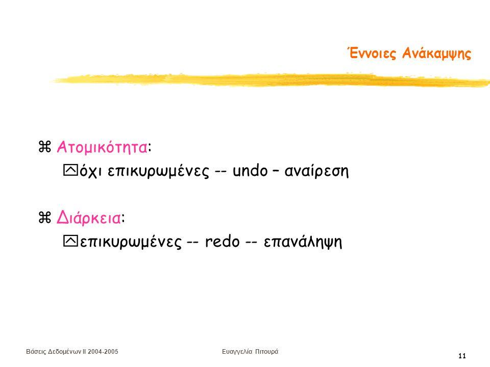 Βάσεις Δεδομένων II 2004-2005 Ευαγγελία Πιτουρά 11 Έννοιες Ανάκαμψης zΑτομικότητα: yόχι επικυρωμένες -- undo – αναίρεση zΔιάρκεια: yεπικυρωμένες -- redo -- επανάληψη