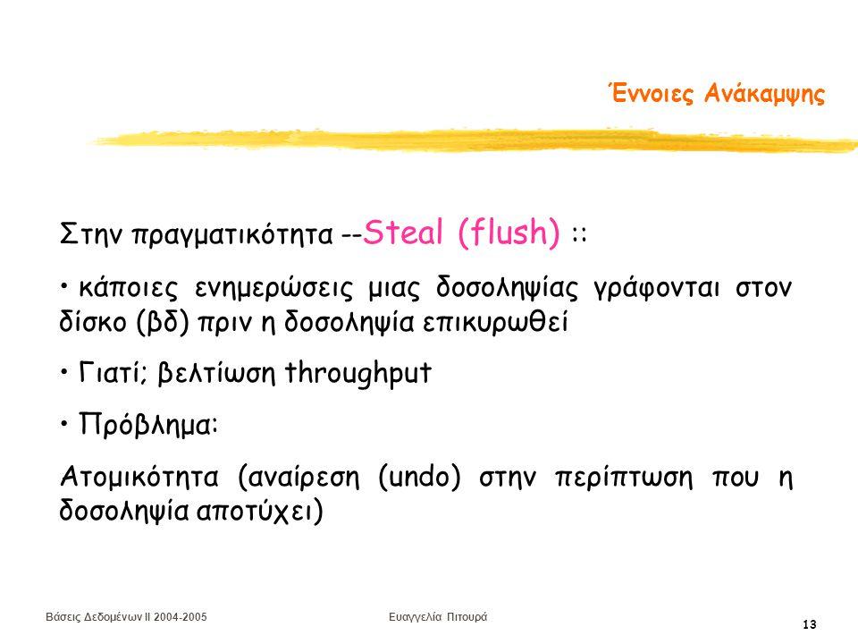 Βάσεις Δεδομένων II 2004-2005 Ευαγγελία Πιτουρά 13 Έννοιες Ανάκαμψης Στην πραγματικότητα -- Steal (flush) :: κάποιες ενημερώσεις μιας δοσοληψίας γράφονται στον δίσκο (βδ) πριν η δοσοληψία επικυρωθεί Γιατί; βελτίωση throughput Πρόβλημα: Ατομικότητα (αναίρεση (undo) στην περίπτωση που η δοσοληψία αποτύχει)