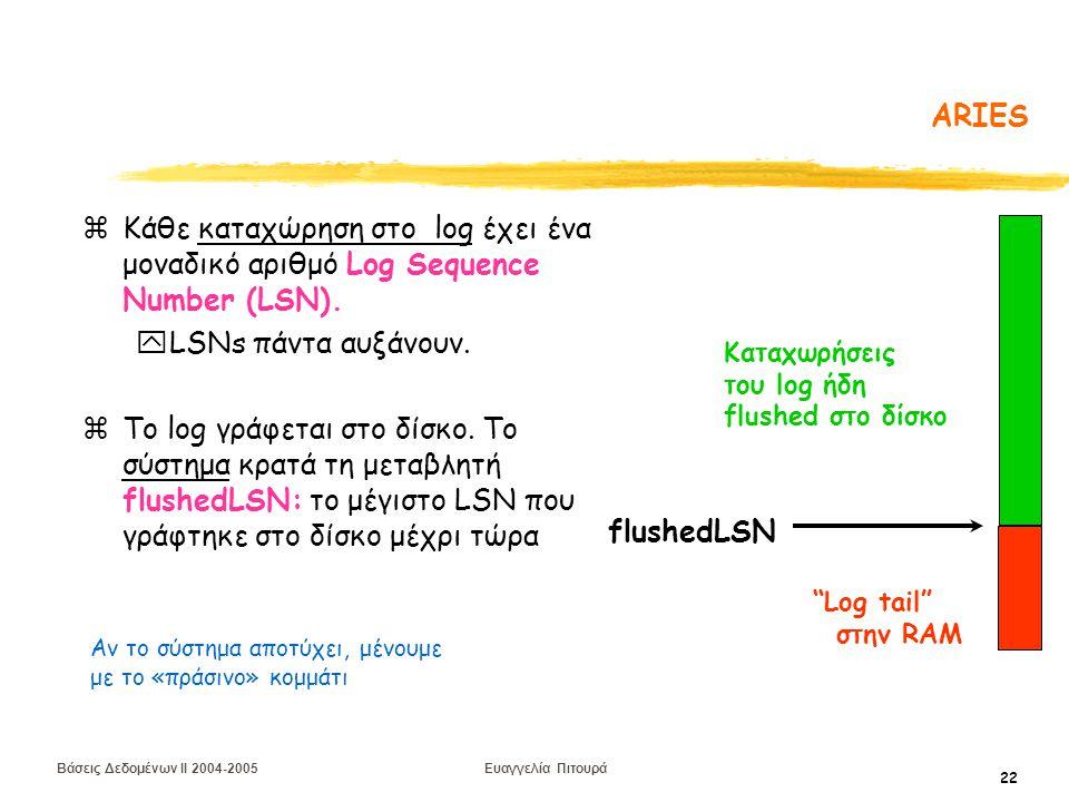 Βάσεις Δεδομένων II 2004-2005 Ευαγγελία Πιτουρά 22 ARIES zΚάθε καταχώρηση στο log έχει ένα μοναδικό αριθμό Log Sequence Number (LSN).