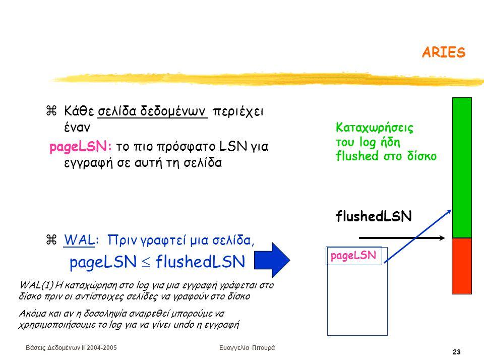 Βάσεις Δεδομένων II 2004-2005 Ευαγγελία Πιτουρά 23 ARIES zΚάθε σελίδα δεδομένων περιέχει έναν pageLSN: το πιο πρόσφατο LSN για εγγραφή σε αυτή τη σελίδα zWAL: Πριν γραφτεί μια σελίδα, pageLSN  flushedLSN pageLSN Καταχωρήσεις του log ήδη flushed στο δίσκο flushedLSN WAL(1) Η καταχώρηση στο log για μια εγγραφή γράφεται στο δίσκο πριν οι αντίστοιχες σελίδες να γραφούν στο δίσκο Ακόμα και αν η δοσοληψία αναιρεθεί μπορούμε να χρησιμοποιήσουμε το log για να γίνει undo η εγγραφή