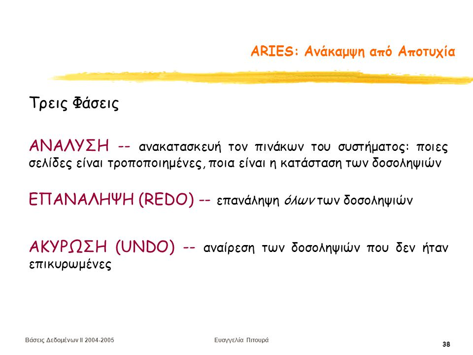 Βάσεις Δεδομένων II 2004-2005 Ευαγγελία Πιτουρά 38 ARIES: Ανάκαμψη από Αποτυχία Τρεις Φάσεις ΑΝΑΛΥΣΗ -- ανακατασκευή τον πινάκων του συστήματος: ποιες σελίδες είναι τροποποιημένες, ποια είναι η κατάσταση των δοσοληψιών ΕΠΑΝΑΛΗΨΗ (REDO) -- επανάληψη όλων των δοσοληψιών ΑΚΥΡΩΣΗ (UNDO) -- αναίρεση των δοσοληψιών που δεν ήταν επικυρωμένες