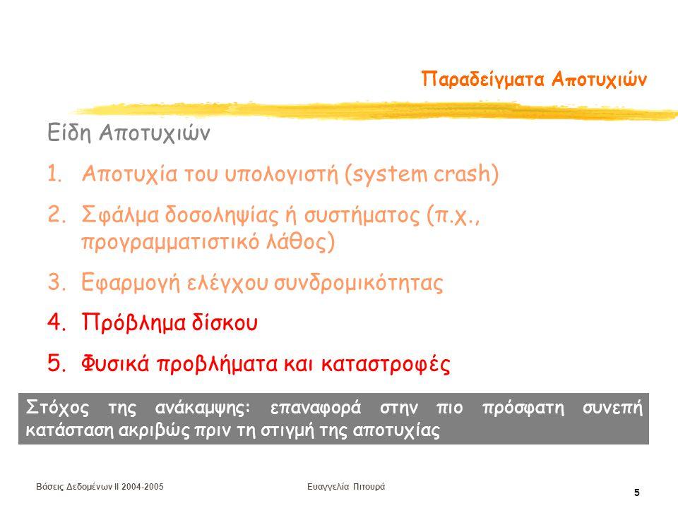 Βάσεις Δεδομένων II 2004-2005 Ευαγγελία Πιτουρά 5 Παραδείγματα Αποτυχιών Είδη Αποτυχιών 1.Αποτυχία του υπολογιστή (system crash) 2.Σφάλμα δοσοληψίας ή συστήματος (π.χ., προγραμματιστικό λάθος) 3.Εφαρμογή ελέγχου συνδρομικότητας 4.Πρόβλημα δίσκου 5.Φυσικά προβλήματα και καταστροφές Στόχος της ανάκαμψης: επαναφορά στην πιο πρόσφατη συνεπή κατάσταση ακριβώς πριν τη στιγμή της αποτυχίας