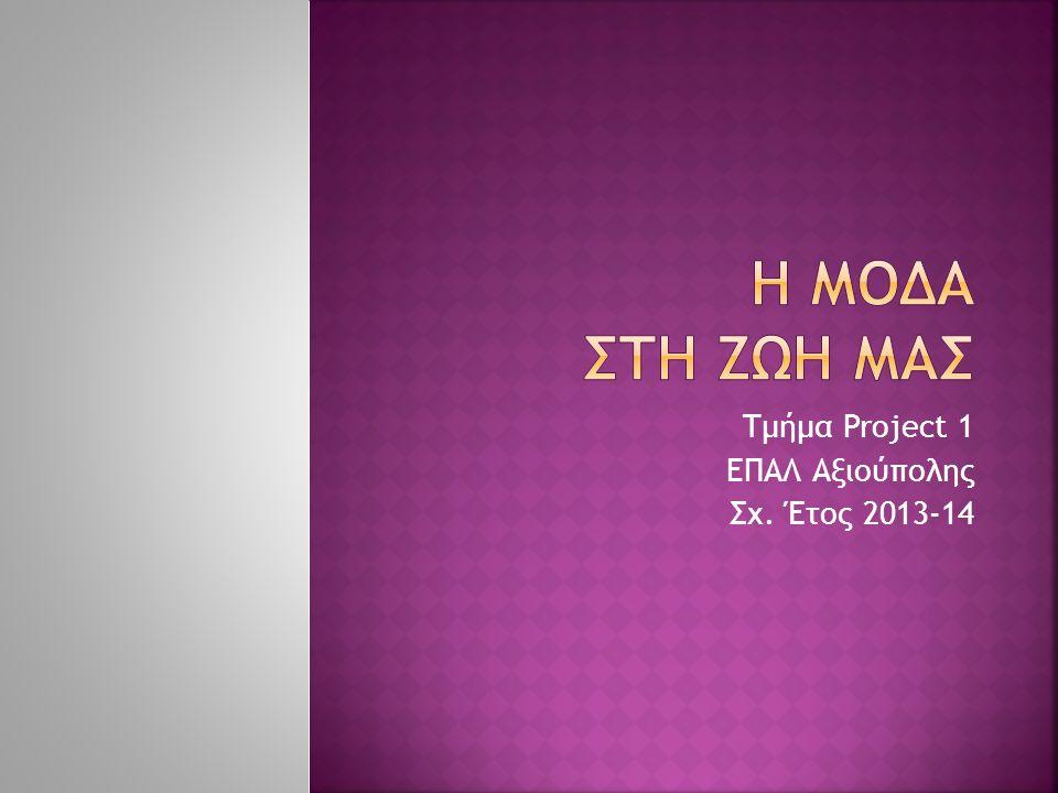 Τμήμα Project 1 ΕΠΑΛ Αξιούπολης Σχ. Έτος 2013-14