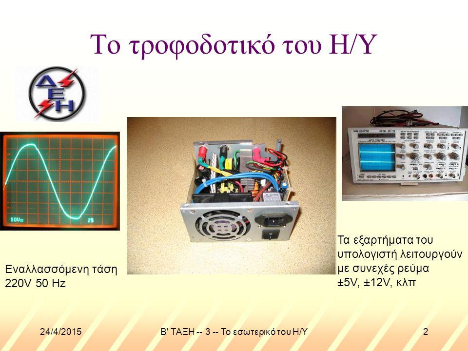 24/4/2015B ΤΑΞΗ -- 3 -- Το εσωτερικό του Η/Υ2 Το τροφοδοτικό του Η/Υ Εναλλασσόμενη τάση 220V 50 Hz Τα εξαρτήματα του υπολογιστή λειτουργούν με συνεχές ρεύμα ±5V, ±12V, κλπ