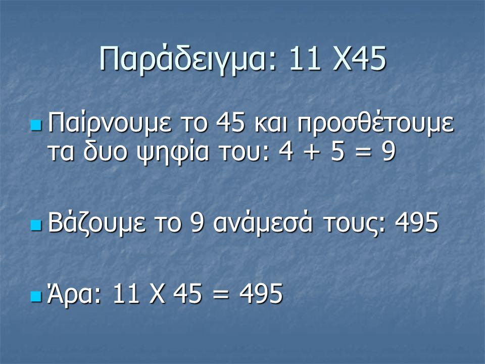 Παράδειγμα: 11 Χ45 Παίρνουμε το 45 και προσθέτουμε τα δυο ψηφία του: 4 + 5 = 9 Παίρνουμε το 45 και προσθέτουμε τα δυο ψηφία του: 4 + 5 = 9 Βάζουμε το 9 ανάμεσά τους: 495 Βάζουμε το 9 ανάμεσά τους: 495 Άρα: 11 Χ 45 = 495 Άρα: 11 Χ 45 = 495