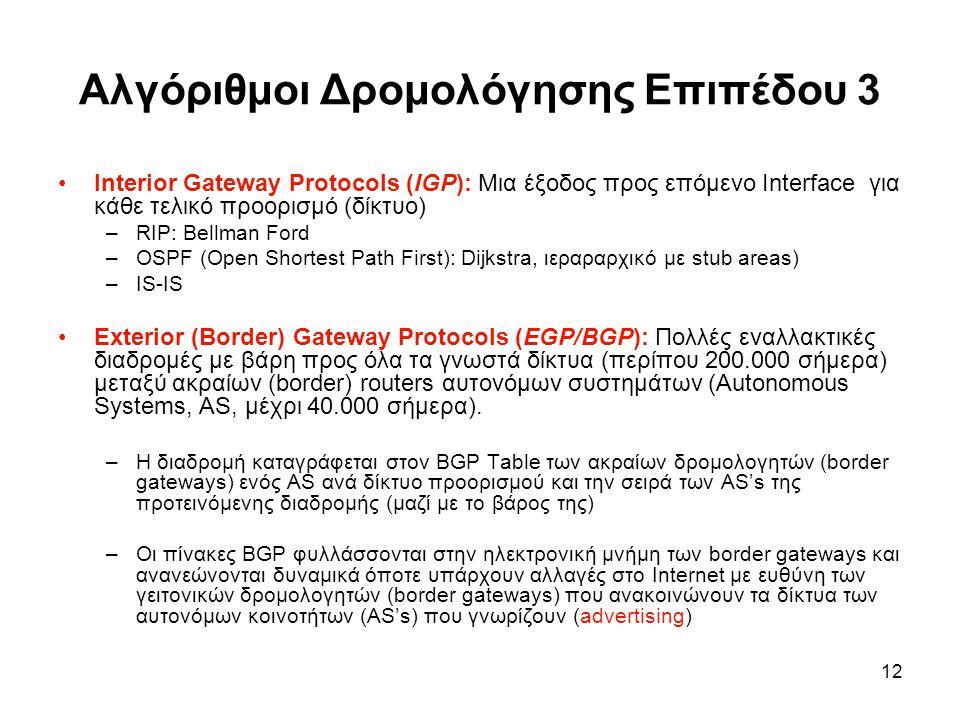 12 Αλγόριθμοι Δρομολόγησης Επιπέδου 3 Interior Gateway Protocols (IGP): Μια έξοδος προς επόμενο Interface για κάθε τελικό προορισμό (δίκτυο) –RIP: Bellman Ford –OSPF (Open Shortest Path First): Dijkstra, ιεραραρχικό με stub areas) –IS-IS Exterior (Border) Gateway Protocols (EGP/BGP): Πολλές εναλλακτικές διαδρομές με βάρη προς όλα τα γνωστά δίκτυα (περίπου 200.000 σήμερα) μεταξύ ακραίων (border) routers αυτονόμων συστημάτων (Autonomous Systems, AS, μέχρι 40.000 σήμερα).