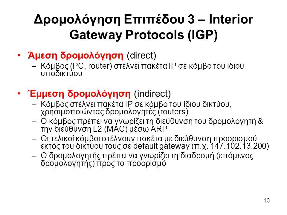 13 Δρομολόγηση Επιπέδου 3 – Interior Gateway Protocols (IGP) Άμεση δρομολόγηση (direct) –Κόμβος (PC, router) στέλνει πακέτα IP σε κόμβο του ίδιου υποδικτύου Έμμεση δρομολόγηση (indirect) –Κόμβος στέλνει πακέτα IP σε κόμβο του ίδιου δικτύου, χρησιμοποιώντας δρομολογητές (routers) –Ο κόμβος πρέπει να γνωρίζει τη διεύθυνση του δρομολογητή & την διεύθυνση L2 (MAC) μέσω ARP –Οι τελικοί κόμβοι στέλνουν πακέτα με διεύθυνση προορισμού εκτός του δικτύου τους σε default gateway (π.χ.