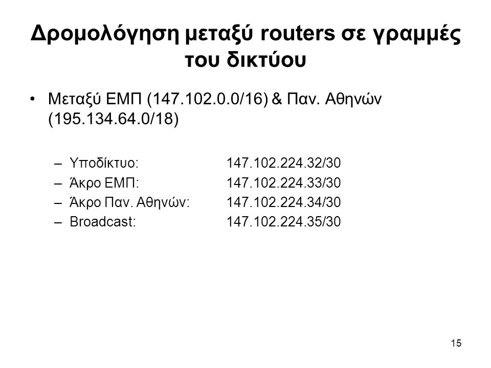 15 Δρομολόγηση μεταξύ routers σε γραμμές του δικτύου Μεταξύ ΕΜΠ (147.102.0.0/16) & Παν. Αθηνών (195.134.64.0/18) –Υποδίκτυο:147.102.224.32/30 –Άκρο ΕΜ